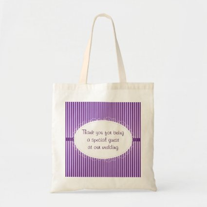 Purple Stripey Pattern Wedding Budget Tote Bag