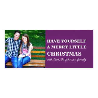 Purple Style Photo Christmas Flat Cards