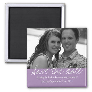 Purple Style Save The Date Photo Magnet