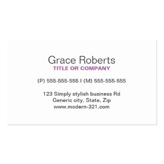Purple stylish generic simple elegant personal Double-Sided standard business cards (Pack of 100)