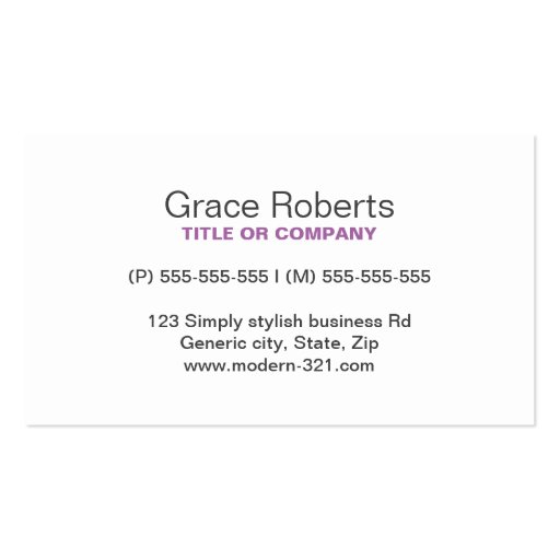Purple stylish generic simple elegant personal business card