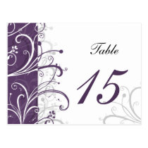 purple stylish Table Numbers postcards