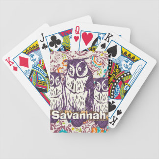 Purple Stylized Geometric Owl Family Bicycle Playing Cards