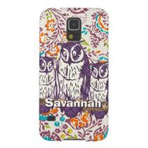 Purple Stylized Geometric Owl Family Case For Galaxy S5
