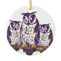 Purple Stylized Geometric Owl Family Ceramic Ornament