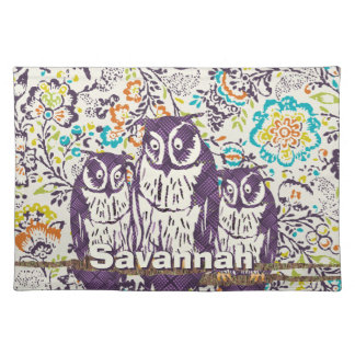 Purple Stylized Geometric Owl Family Cloth Placemat