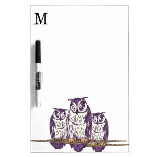 Purple Stylized Geometric Owl Family Dry-Erase Board