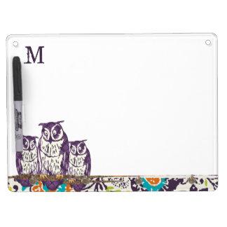 Purple Stylized Geometric Owl Family Dry Erase Board
