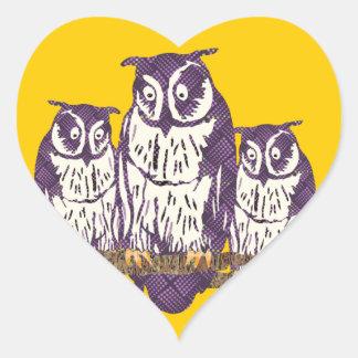 Purple Stylized Geometric Owl Family Heart Sticker