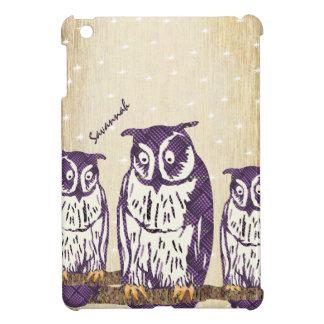 Purple Stylized Geometric Owl Family iPad Mini Covers