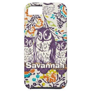 Purple Stylized Geometric Owl Family iPhone SE/5/5s Case