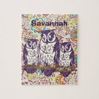 Purple Stylized Geometric Owl Family Jigsaw Puzzle