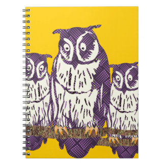 Purple Stylized Geometric Owl Family Spiral Note Book