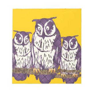 Purple Stylized Geometric Owl Family Notepad