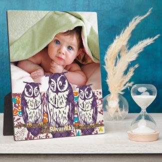 Purple Stylized Geometric Owl Family Plaque