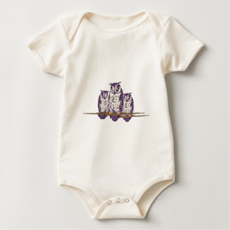 Purple Stylized Geometric Owl Family Romper