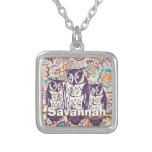 Purple Stylized Geometric Owl Family Silver Plated Necklace
