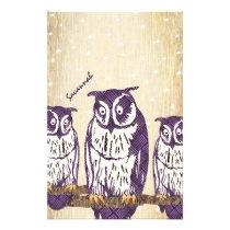 Purple Stylized Geometric Owl Family Stationery