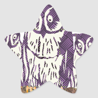 Purple Stylized Geometric Owl Family Stickers
