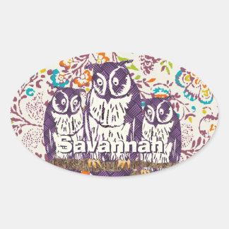Purple Stylized Geometric Owl Family Oval Sticker