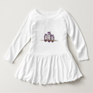 Purple Stylized Geometric Owl Family T Shirt