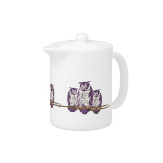 Purple Stylized Geometric Owl Family Teapot