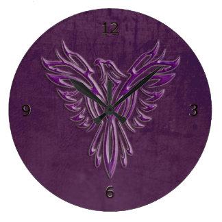 Purple stylized Phoenix Rising, leather texture Large Clock