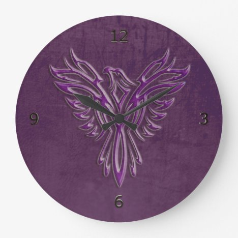 Purple stylized Phoenix Rising, leather texture Large Clock