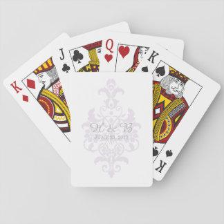 Purple Subtle Damask Wedding Cards