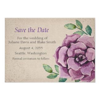 Purple Succulent Save the Date Card