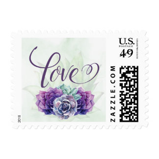Purple Succulents wedding invitation postage stamp