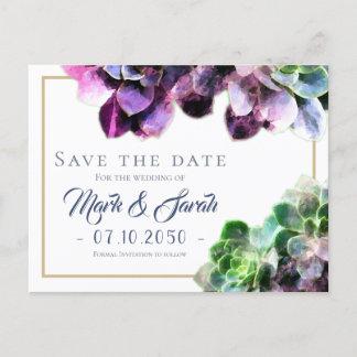 Purple Succulents with Blue Text Tan Line Wedding Announcement Postcard