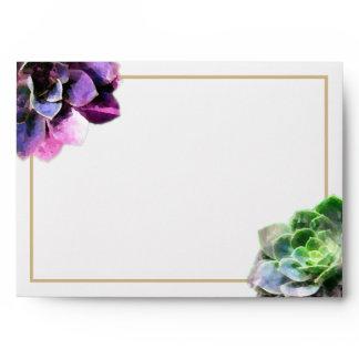 Purple Succulents with Blue Text Tan Line Wedding Envelope