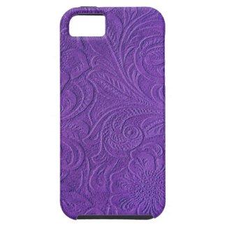 Purple Suede Leather Look Embossed Flowers