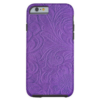 Purple Suede Leather Look Embossed Flowers Tough iPhone 6 Case