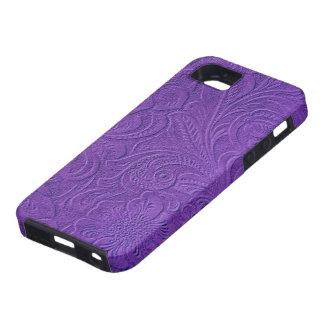 Purple Suede Leather Look Embossed Flowers iPhone 5 Cases