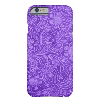 Purple Suede Leather Look Embossed Flowers Barely There iPhone 6 Case