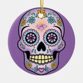 Purple Sugar Skull Ceramic Ornament