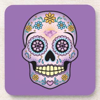 Purple Sugar Skull Drink Coaster