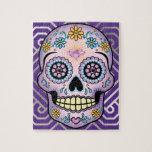 "Purple Sugar Skull Jigsaw Puzzle<br><div class=""desc"">Purple Dia de los Muertos sugar skull is so colorful with flowers,  heart and diamond.</div>"