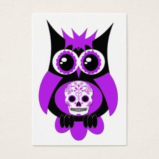 Purple Sugar Skull Owl Business Card
