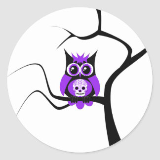Purple Sugar Skull Owl in Tree Sticker