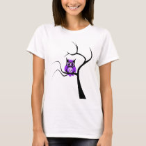 Purple Sugar Skull Owl in Tree T-Shirt