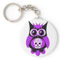 Purple Sugar Skull Owl Keychain