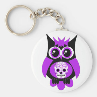 Purple Sugar Skull Owl Keychain