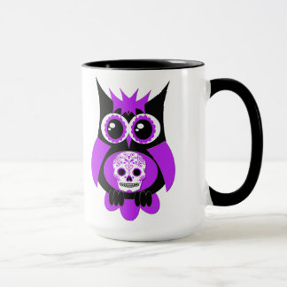 Purple Sugar Skull Owl Mug