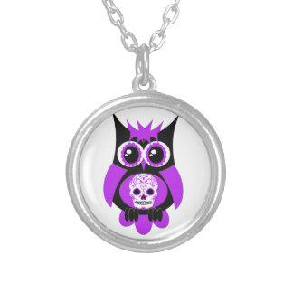 Purple Sugar Skull Owl Necklace