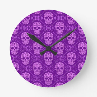 Purple Sugar Skull Pattern Round Wallclock