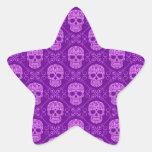 Purple Sugar Skull Pattern Star Stickers