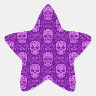 Purple Sugar Skull Pattern Star Sticker